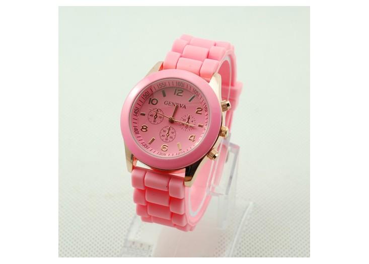 Prześliczny Damski Różowy Zegarek Silikonowy Geneva Jelly Watch Ze ...