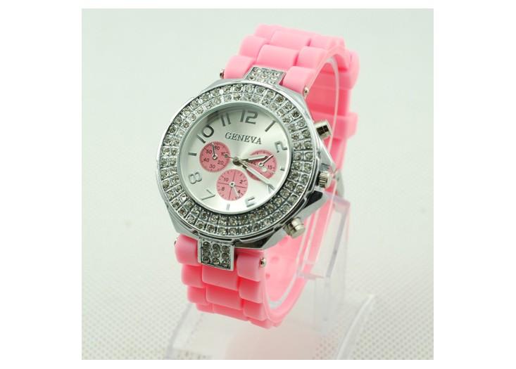 Cudowny Różowy Silikonowy Zegarek Geneva Wysadzany Kryształami ...