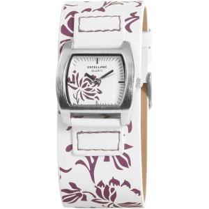 Excellanc modny biały zegarek z motywem kwiatowym